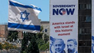Bandiera israeliana e segno di annessione a Gerusalemme (23/06/20)