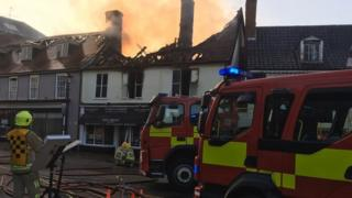 Fire in Halesworth, Suffolk