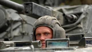 Российский военный во время войны с Грузией в 2008 году