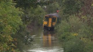 A submerged train