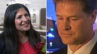 پریت جيل نخستين نماينده زن سیک عضو پارلمان میشود و نیک کلگ (راست) سوگوار از دست دادن کرسی شفیلد هالم است