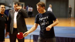 Tom Fletcher playing table tennis