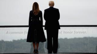 US President Donald Trump and first lady Melania Trump tour the Flight 93 National Memorial