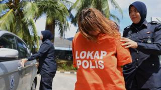 Samantha Jones arriving at court in Langkawi