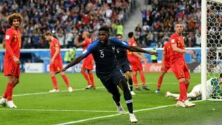 Samuel Umtiti celebra su gol frente a Bélgica.