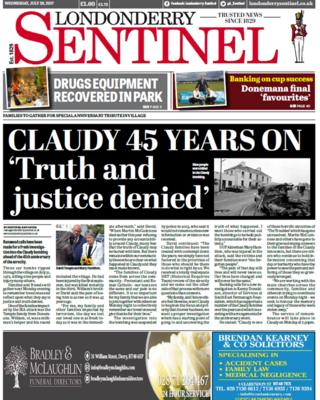 Front page Londonderry Sentinel Wednesday 26 July 2017