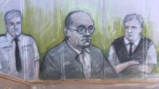 Court sketch of Russell Bishop in the dock