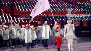 Desfile del equipo OAR en la ceremonia de inauguración.