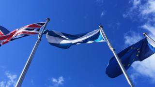 Union, Saltire and EU flag