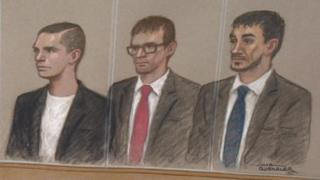 Charlie Simms (centre) in court alongside Kalebh Shreeve and Christopher Bergin