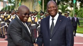 President Akufo Addo of Ghana and President Alhassan Ouattara of Cote D'Ivoire
