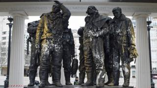 A general view of the the Bomber Command Memorial in Green Park