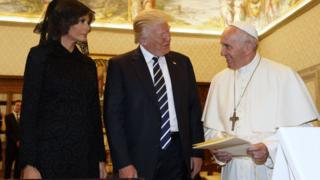 US President Donald Trump with Pope Francis