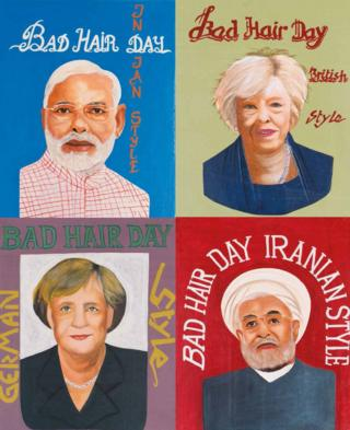 A collage of four world leader portraits