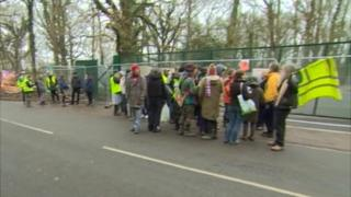 Anti-fracking protesters at Horse Hill