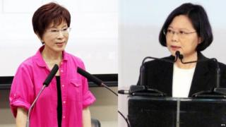 Chinese Nationalist Party's presidential candidate Hung Hsiu-chu (L) in Taipei, Taiwan, on 24 June 2015, and opposition Democratic Progressive Party's presidential candidate Tsai Ing-wen (R) in Taipei on 10 March 2011