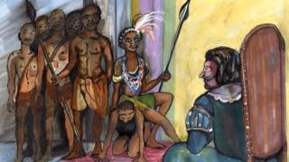పోర్చుగీస్ గవర్నర్తో మాట్లాడేందకు జింగా తన అనుచరుడినే ఆసనంగా చేసుకుంది