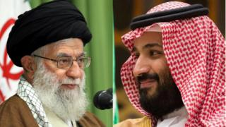Composite image of Iranian Supreme Leader Ayatollah Ali Khamenei and Saudi Crown Prince Mohammed bin Salman