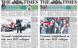The Times front pages - first and second editions from Wednesday April 27 2016