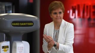 Nicola Sturgeon hand sanitiser