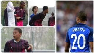 Kylian Mbappe de niño y jugando por la selección francesa.