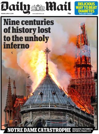 Daily Mail front page on 16 April 2019