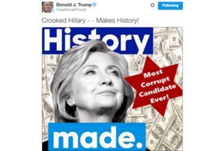 Tuit original de Trump sobre Clinton