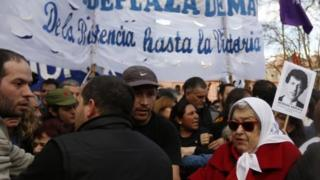Relatives of those who disappeared during Argentina's military rule hold a rally in Buenos Aires. Photo: August 2016