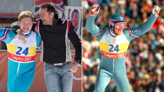 Composite image of Taron Egerton and Hugh Jackman (left) alongside Eddie 'The Eagle' Edwards