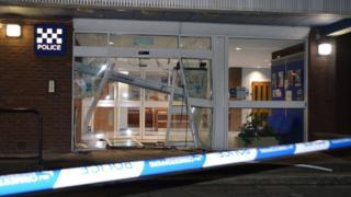Damaged Ayr police station