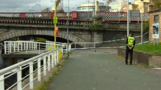 Police have sealed off an area of Broomielaw at the River Clyde