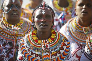 Maasai women dance as they welcome United Nations Secretary-General Antonio Guterres at an event to celebrate the International Women's Day in Nairobi, Kenya, 8 March 2017.