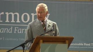 Prince Charles speaking at Llandovery College