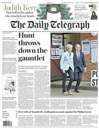 Daily Telegraph front page - 24/05/19