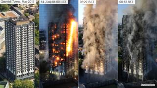 View of Grenfell Tower in May (left) and during the fire on 14 June
