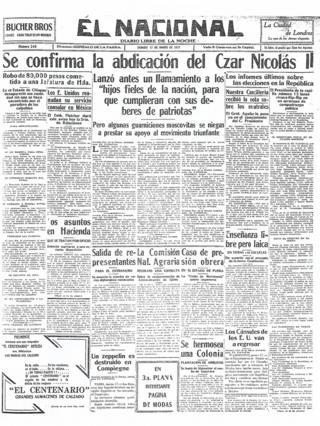 Мексиканская El Nacional - 17 марта 1917 год