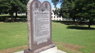 The Ten Commandments monument in the grounds of the state parliament in Arkansas (27 June 2017)