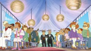 Mr Ratburn and his husband-to-be Patrick walk down the aisle