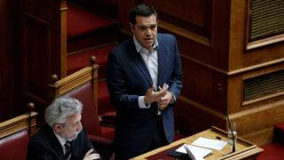 Prime Minister Alexis Tsipras speaks in the Greek Parliament on Monday 9 October 2017