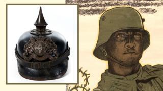 German Pickelhaube helmet, and WW1 poster