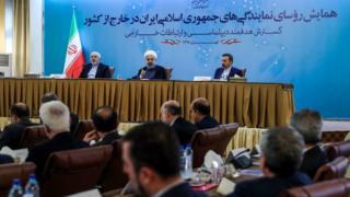 الرئيس الإيراني حسن روحاني في وزارة الخارجية