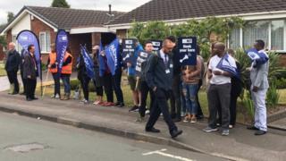 Teachers on strike at the school