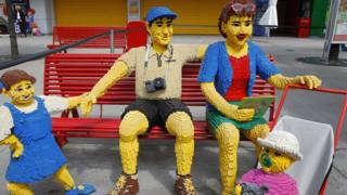 Family made of Lego at a Legoland in Germany