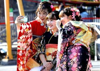 Colourful kimonos at Japan's Coming of Age Day