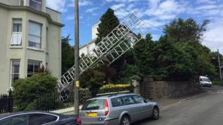 Collapsed scaffolding