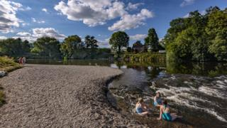 Mark Adams snapped this picture of his wife and friends taking a dip in the River Wye over the weekend