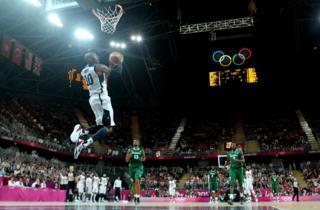 Kobe Bryant slam dunks against Nigeria at the London 2012 Olympic Games