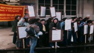 Protesters from Cardiff calling for a higher student grant in 1979