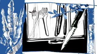 Ilustração mostra garfos e facas