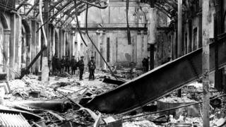 The General Post Office in Dublin in ruins after the Easter Rising in 1916